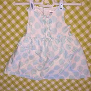 Carter's baby 9 m blue white polka dot dress